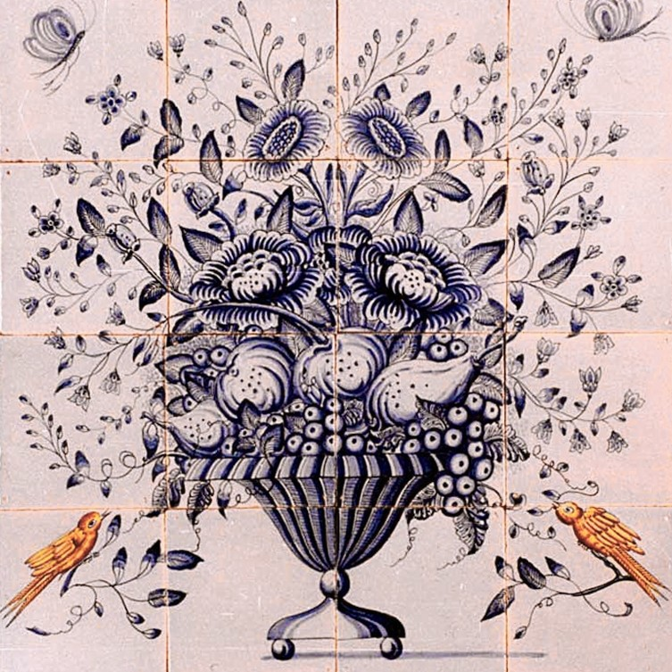 Tiled tableau of a flower basket