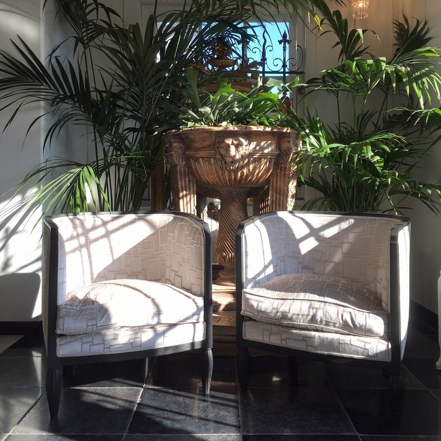 Two luxurious vintage armchairs