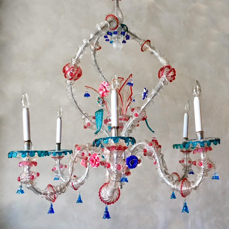 Very large, colorful handblown Ca'rezzonico Chandelier, Murano midcentury