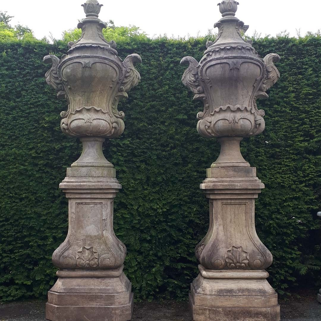 large natural stone garden vases on a base