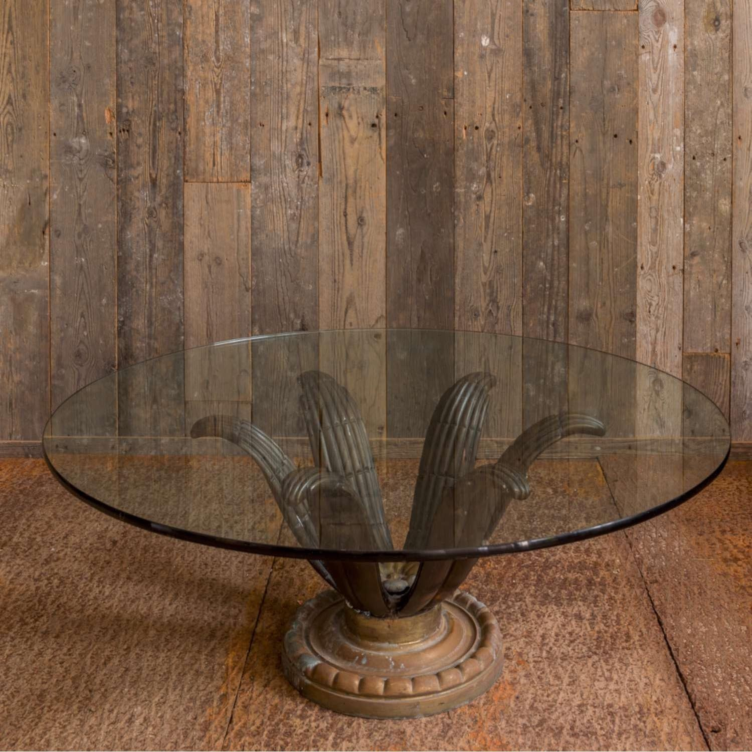 Vintage coffee table with bronze base