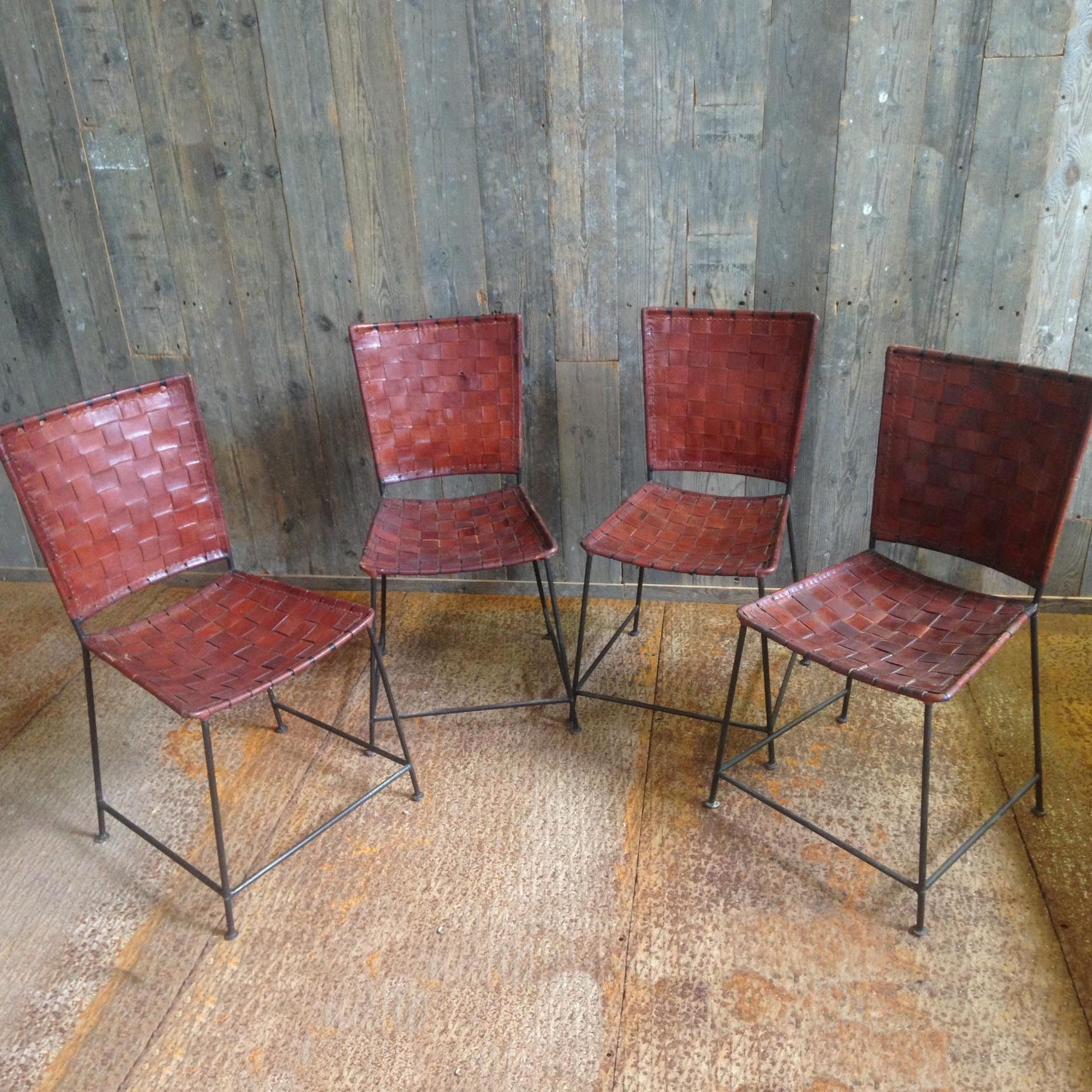 Vintage dining room chairs with leather