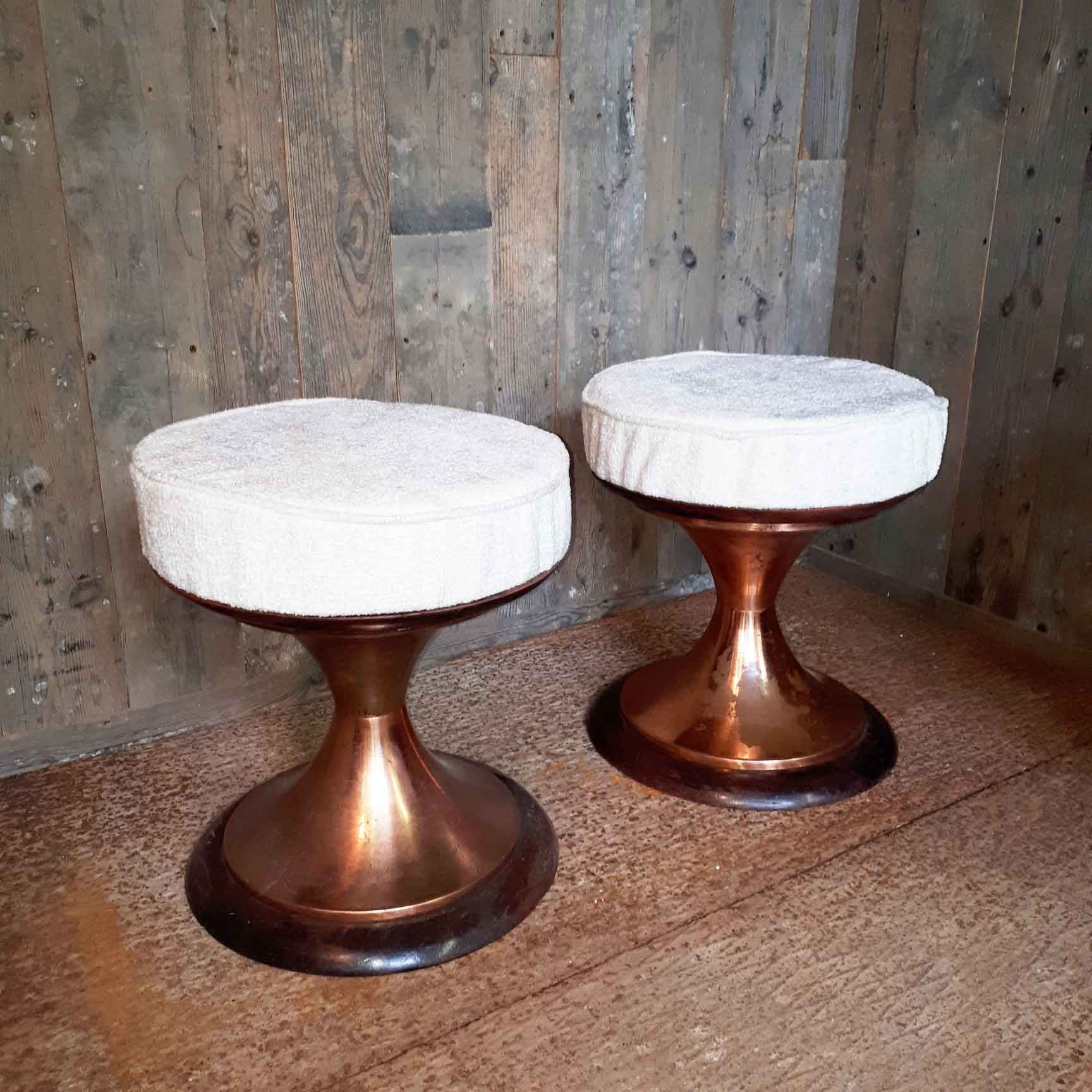 Pair of vintage stools with bronze-colored feet