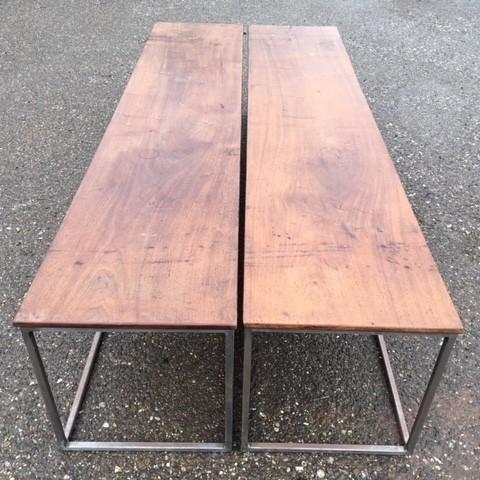 Two walnut coffee tables
