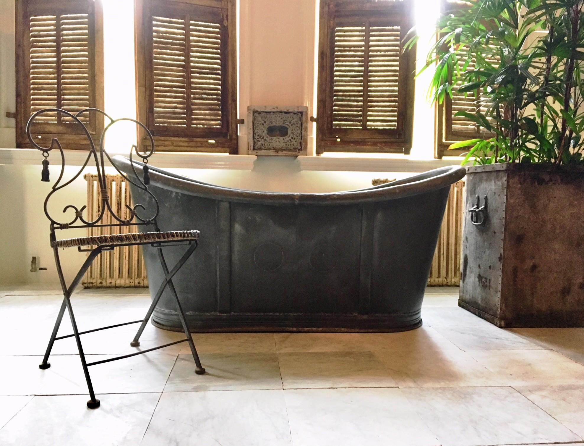 Antique 19th century bathtub of zinc
