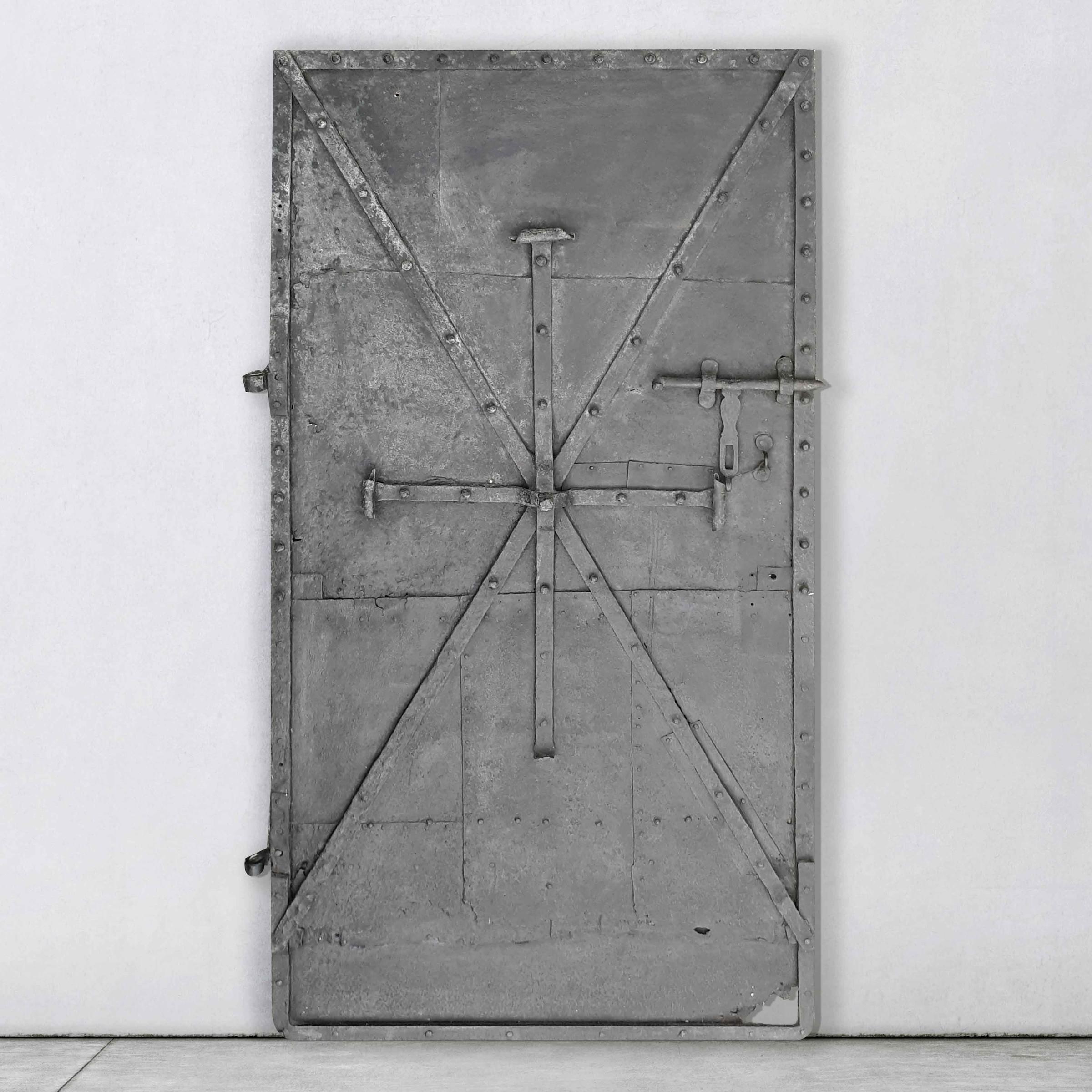 Antique black steel door